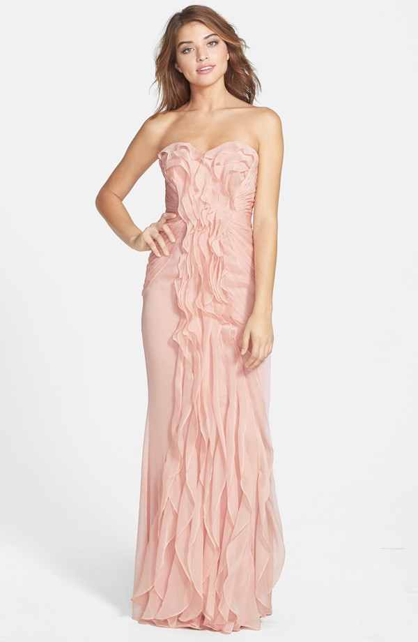 Ruffled bridesmaid dress by adriana papell