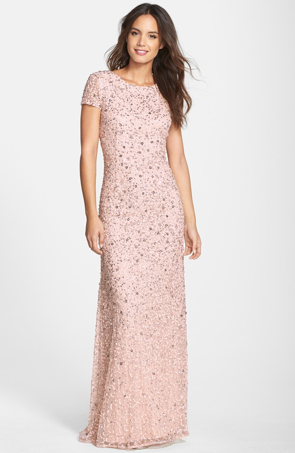 Short sleeve pink bridesmaid dress adriana papell