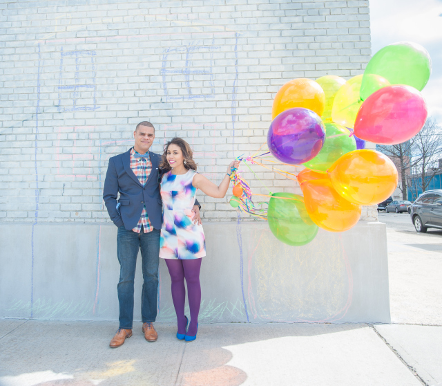 Up inspired engagement shoot with balloons