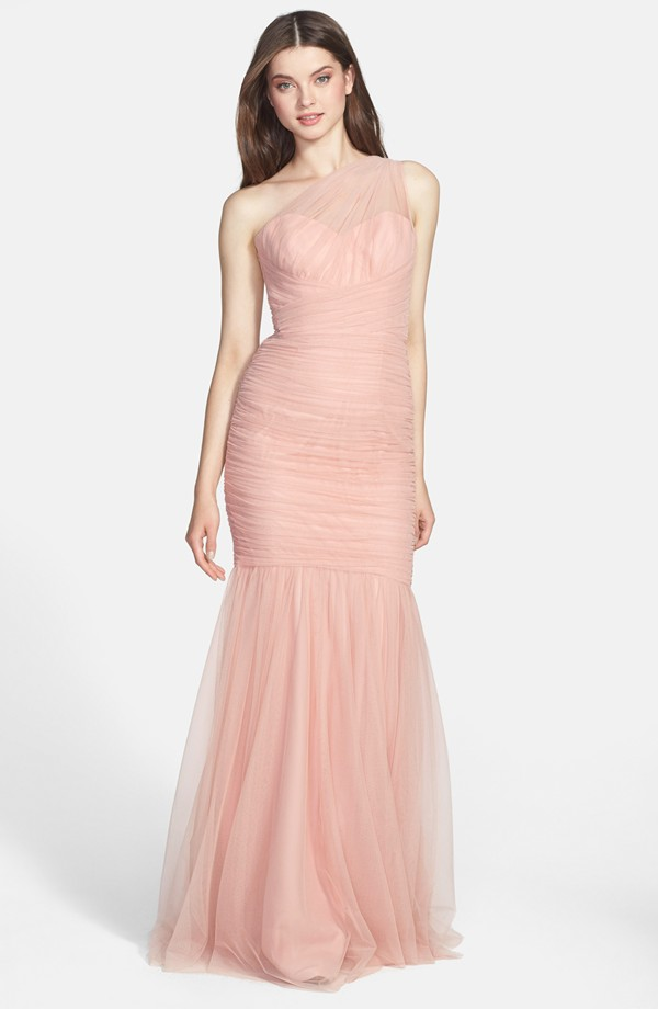 amsale one shoulder bridesmaid gown