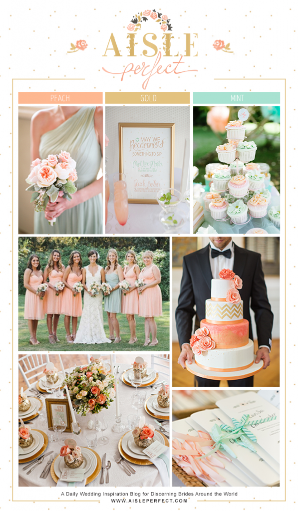 Peach, Mint and Gold Inspiration Board