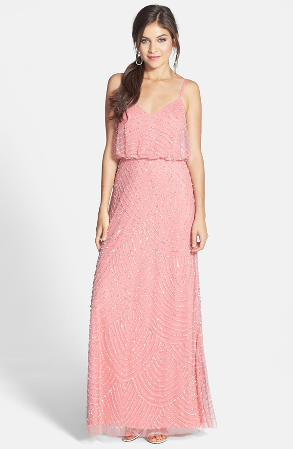 pink bridesmaid dress- beaded