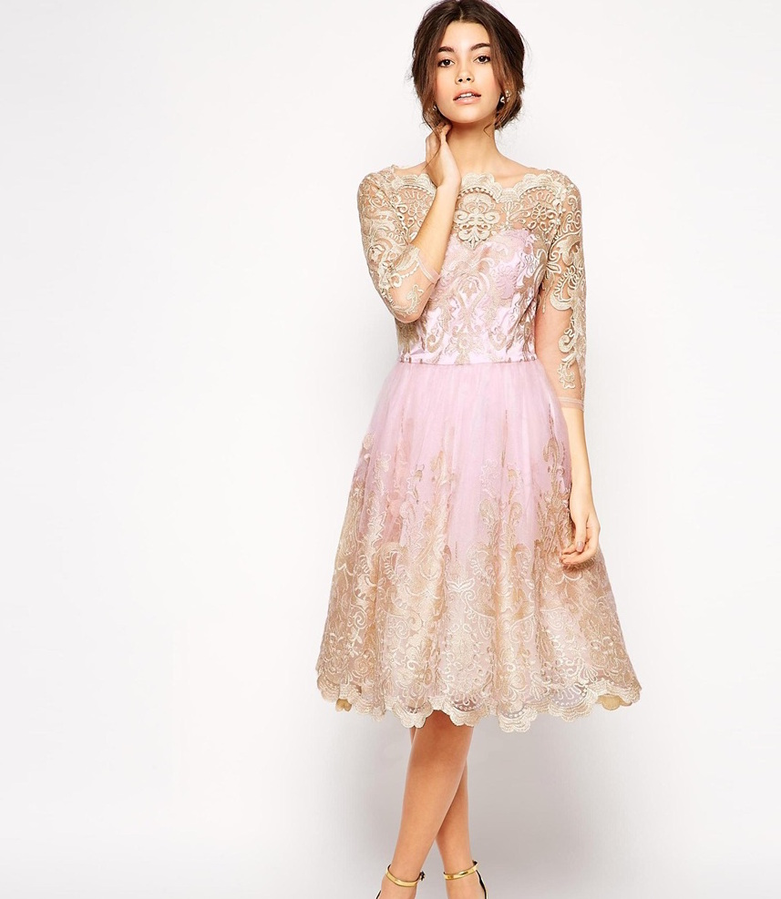 pink lace overlay bridesmaid dress