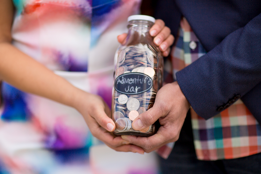 up inspired engagement shoot with adventure jar