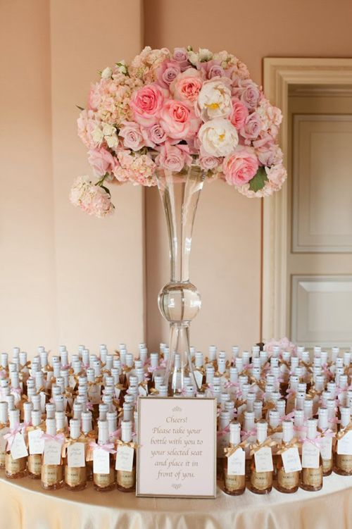 Champagne Escort Card Table