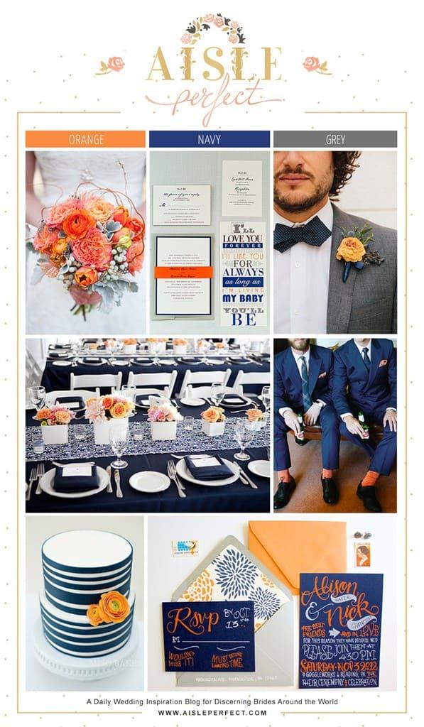 Navy, Orange, Grey