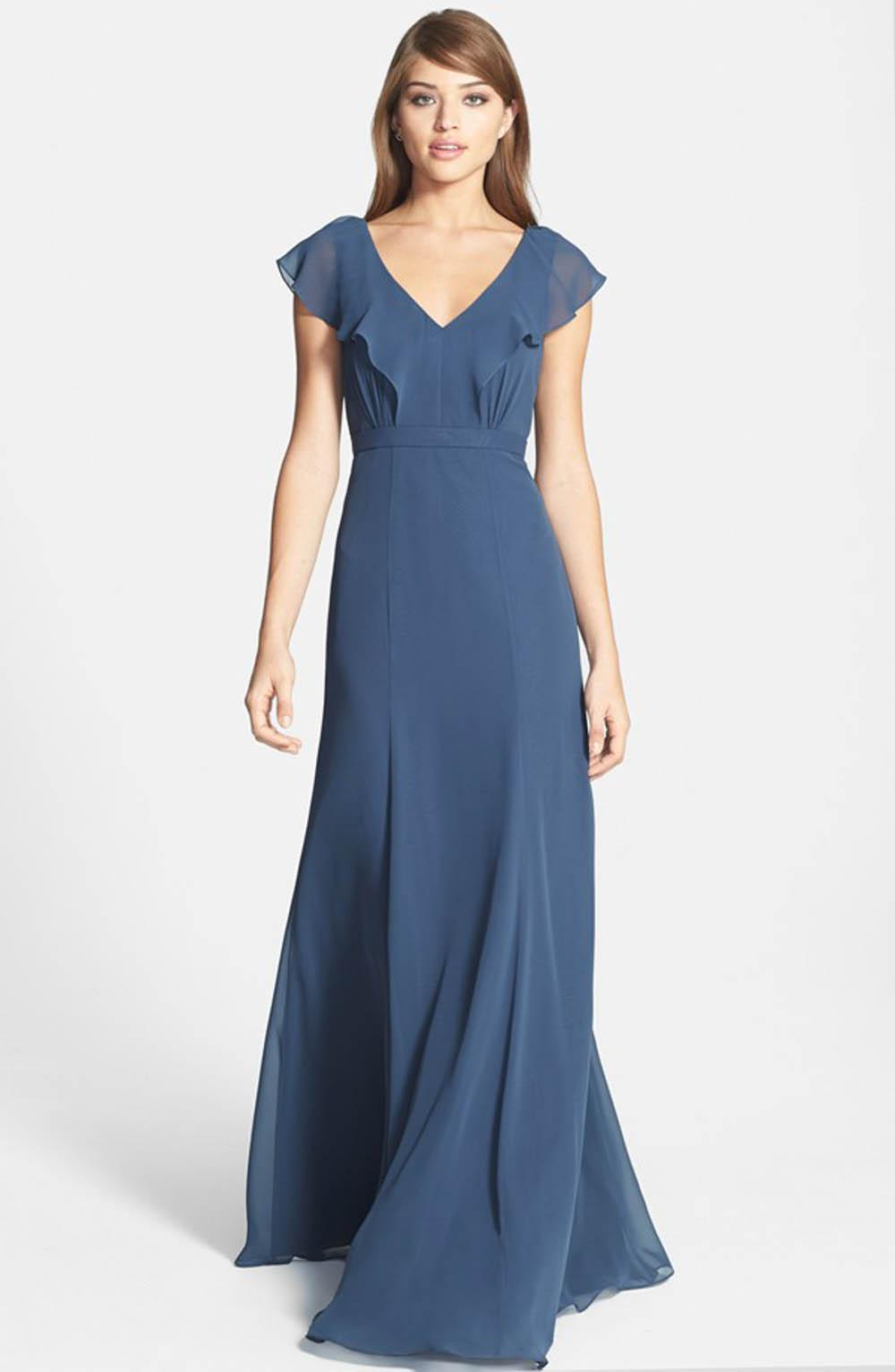Blue Sleeved Bridesmaid Dress