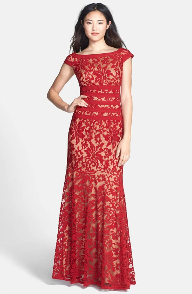 Red lace bridesmaids dress