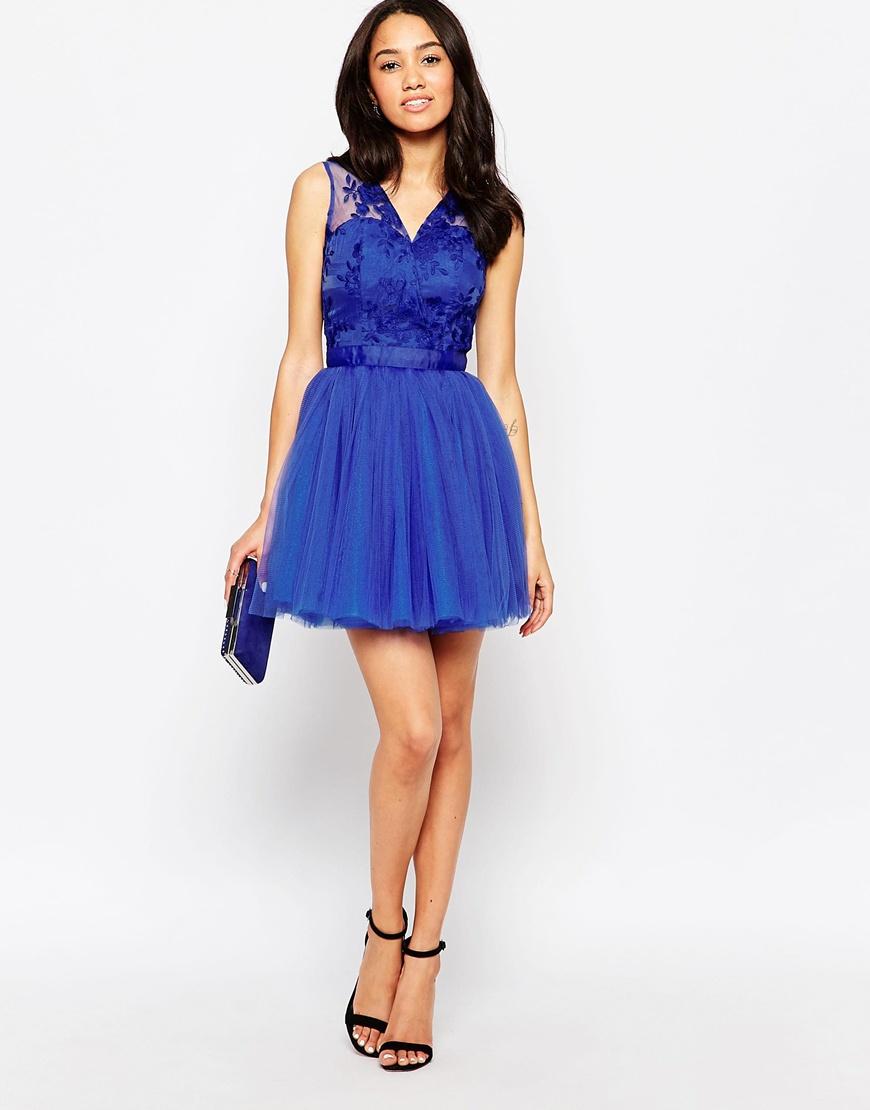 Something blue wedding guest dress