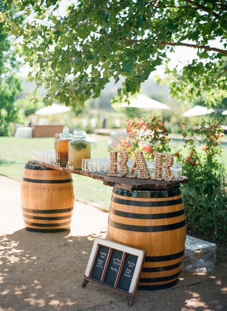 Vineyard wine barrel bar