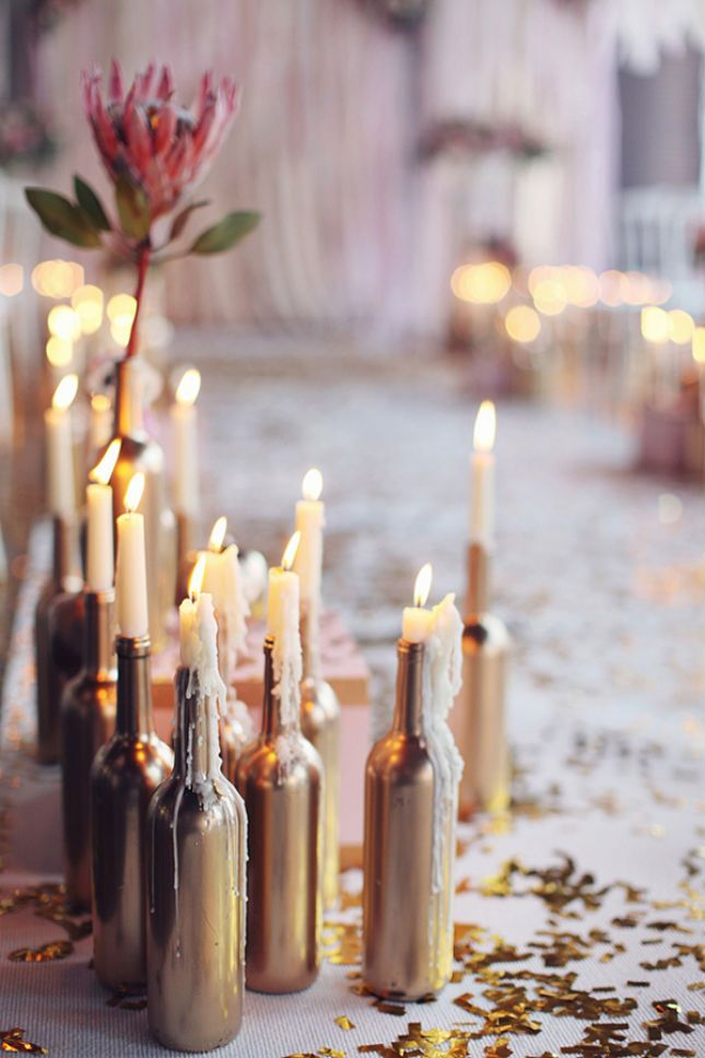 Wine Bottle Candlestick holders