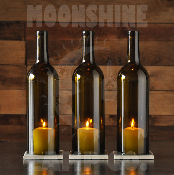 Wine bottle candle holder by moonshine