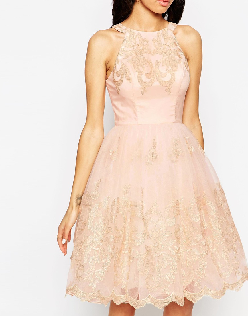 pink wedding guest dress by chi chi london via aisle perfect
