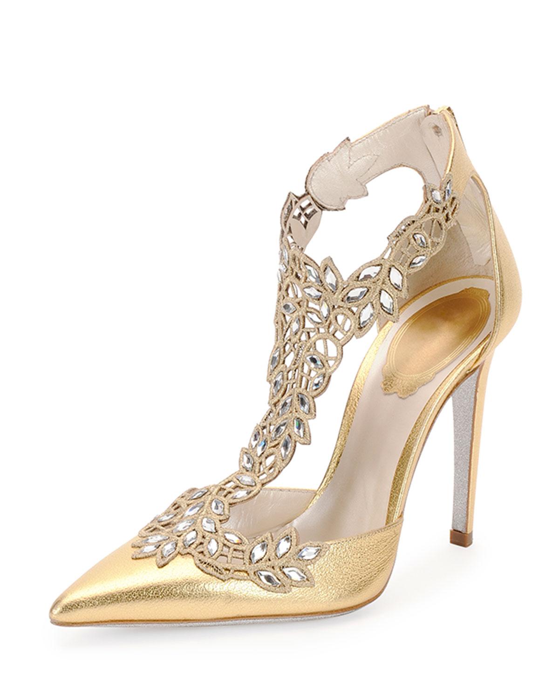 Rene caovilla wedding shoes gold
