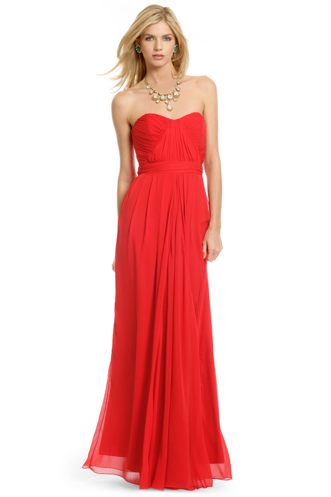 red bridesmaids_strapless
