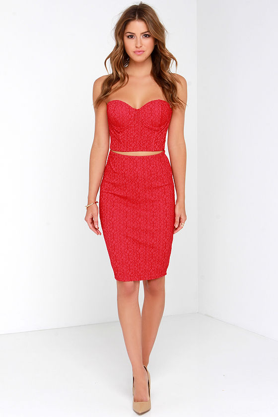 red two piece bridesmaid dress
