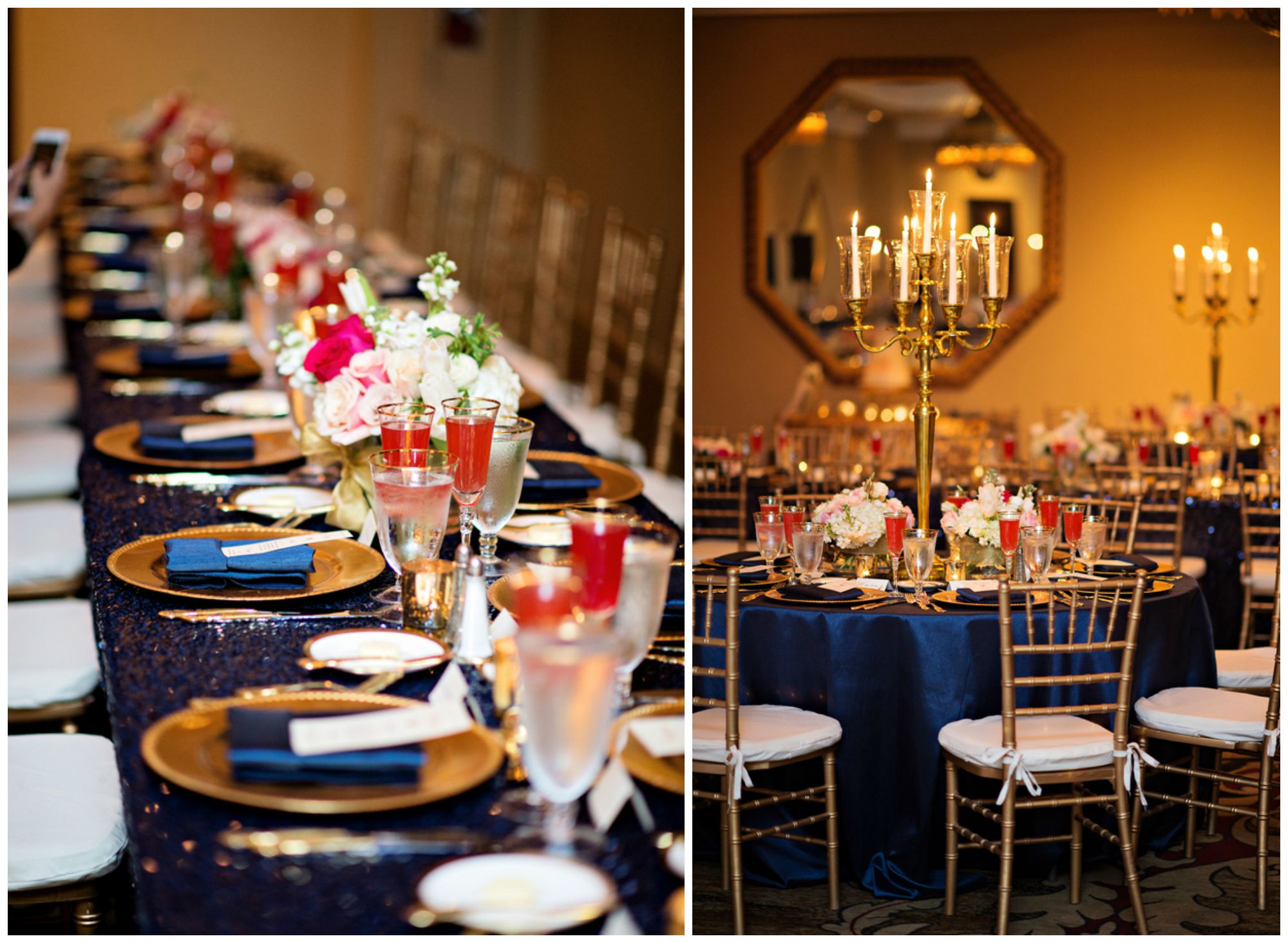 sparkly Blue and gold wedding