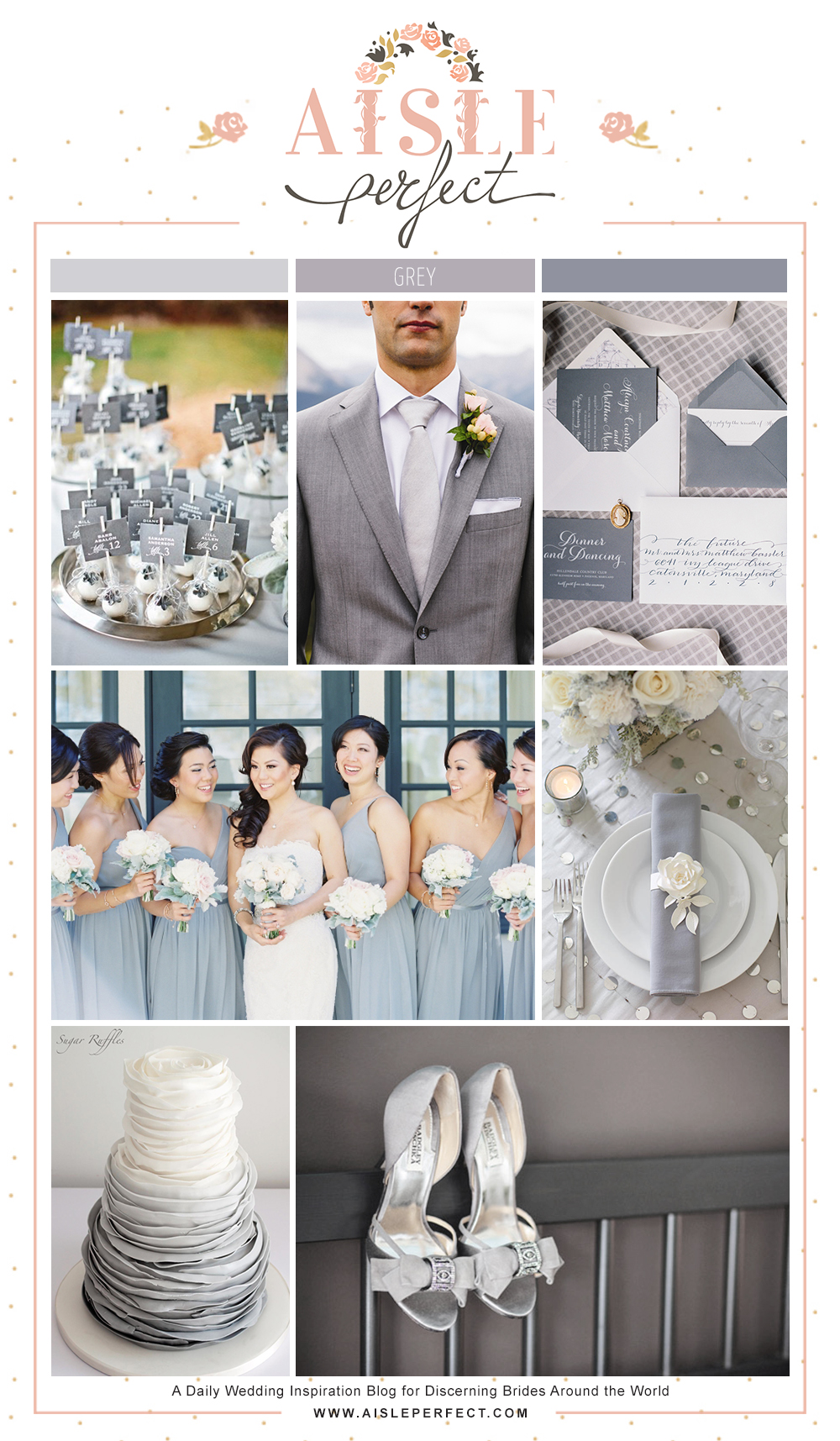 Monochrome Grey wedding inspiration board