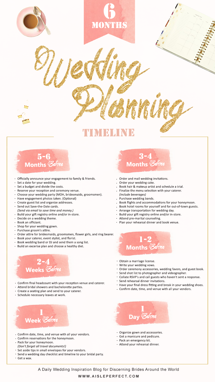 6 month wedding planning timeline aisle perfect junglespirit Images