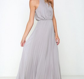 Bariano Light Grey Dress Bridesmaid Wedding