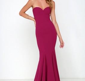 Wine Red Strapless Maxi Dress