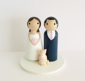 Custom Wedding Cake Topper with Pet