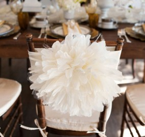 Peony Flower Wedding Chair Cover Reception Decor