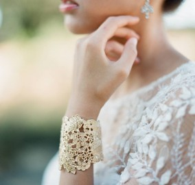 Gold lace leaf cuff