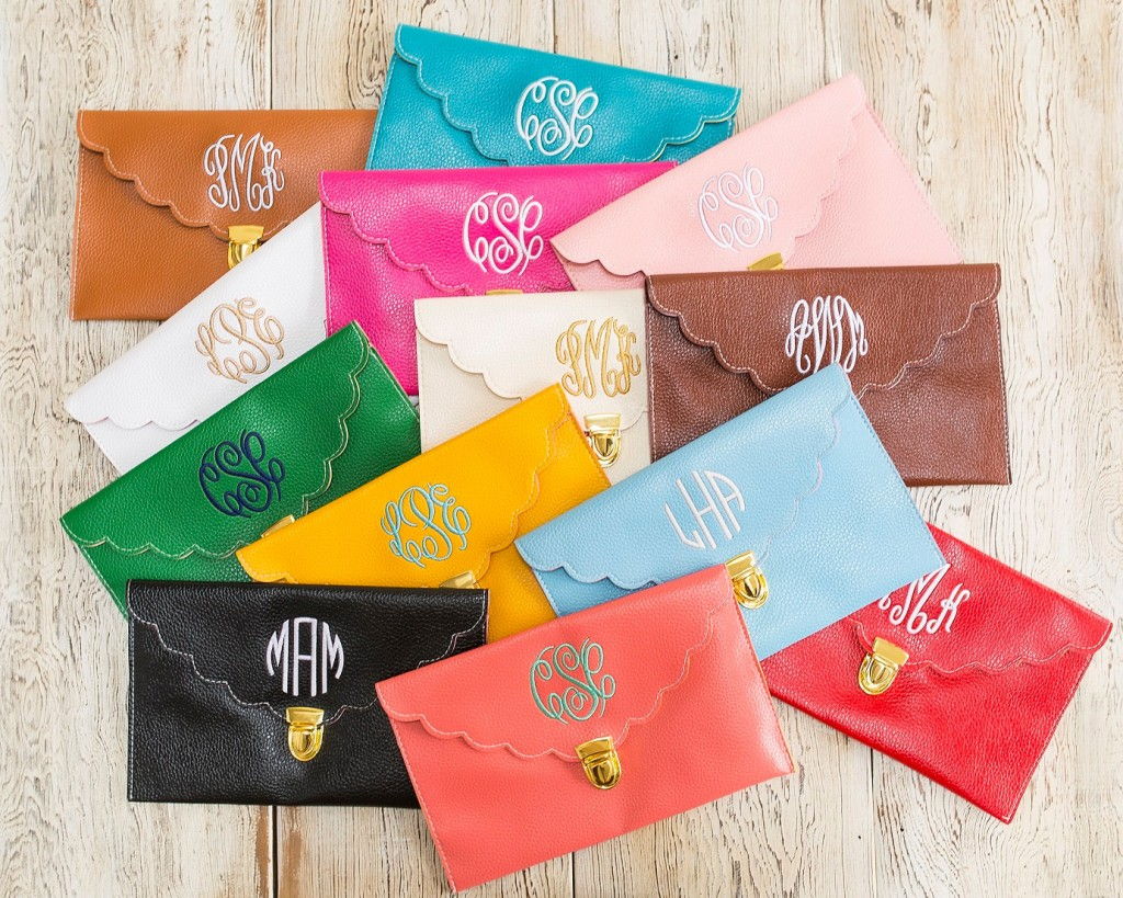 Monogrammed wallet for bridesmaid gifts