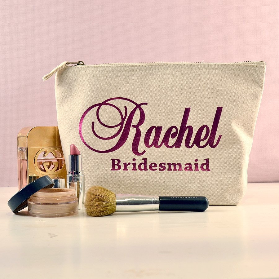 Personalized bridesmaid make up pouch