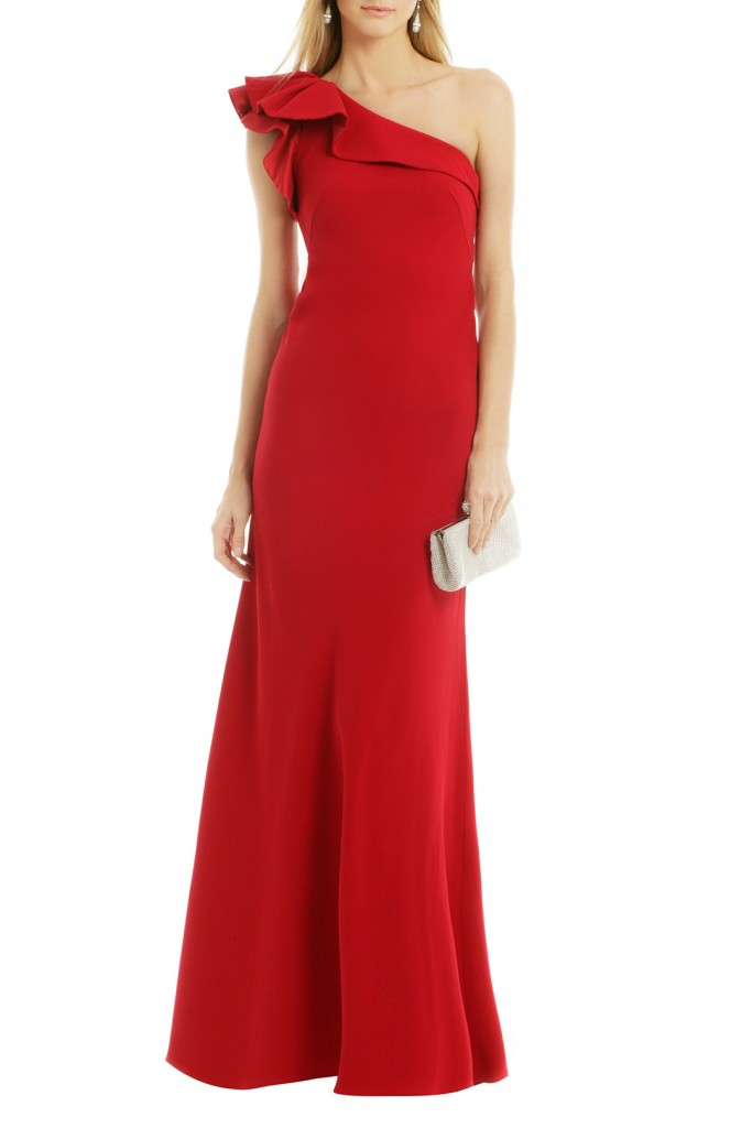 Holiday guest outfit -Carmen Marc Valvo Red Dress