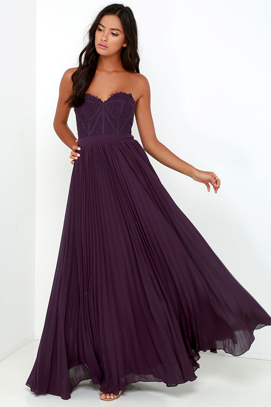 11-Bariano Purple Strapless Dress