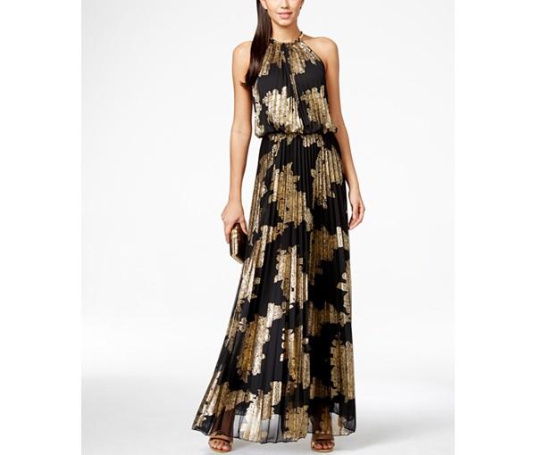 MSK Foil Print Blouson Gown