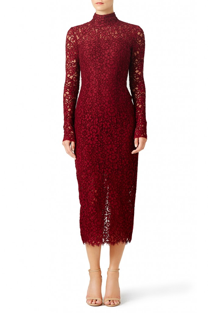 16-Monique Lhuillier Merlot Sheath
