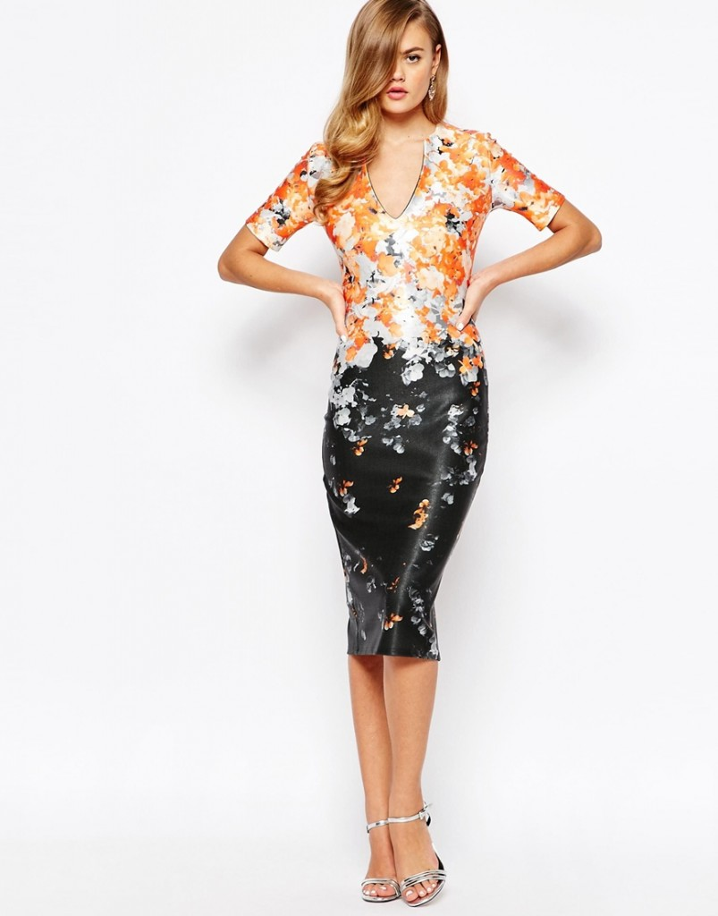 17-True Violet Floral Pencil Dress