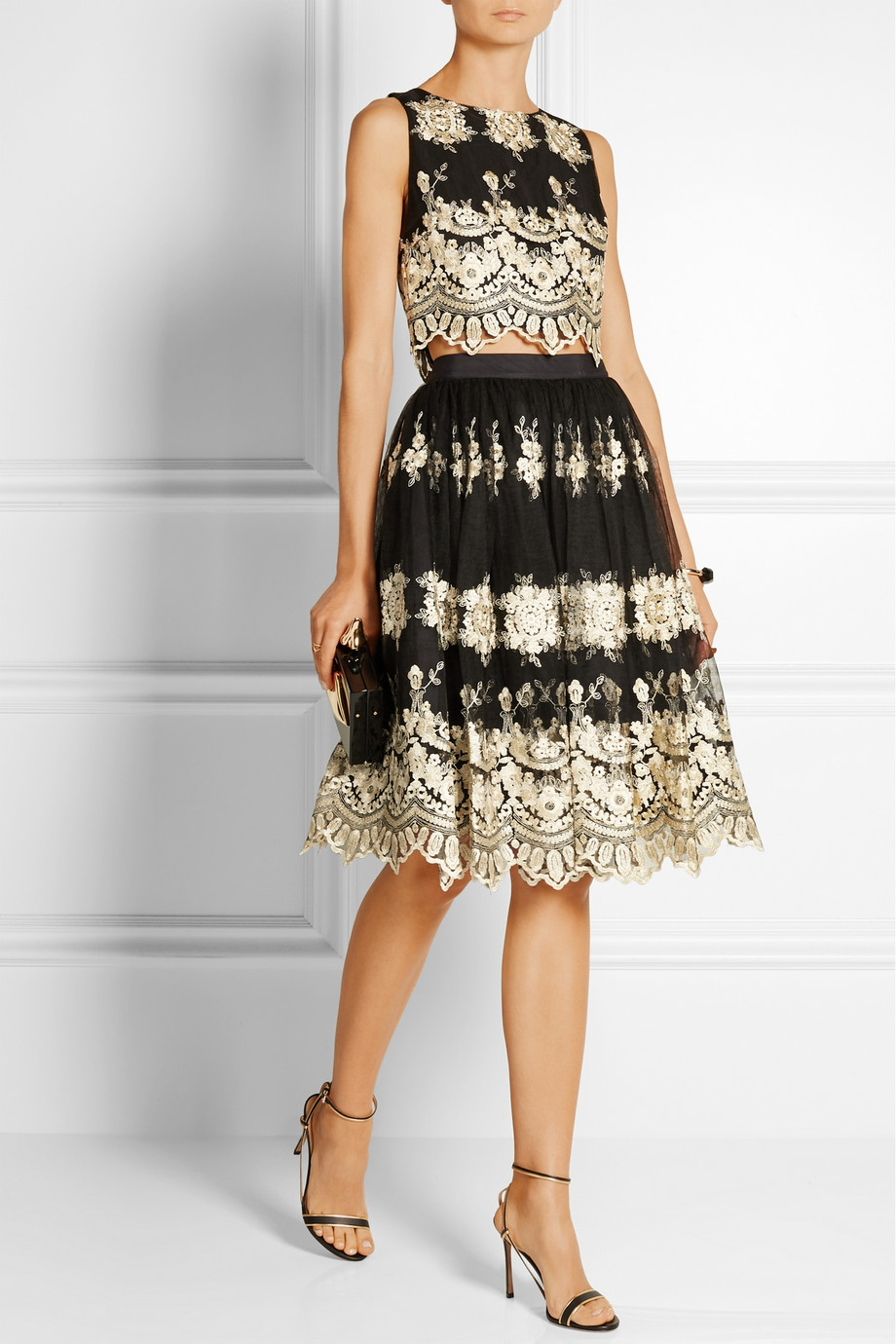 Holiday Wedding Guest Outfit-Alice Olivia Justina Top Skirt