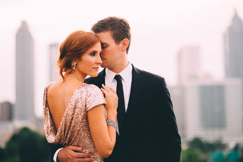 Sequin Engagement Dress- Holiday Themed Engagement Shoot inspiration via Michelle Scott