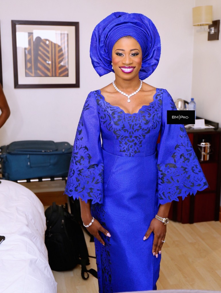 traditional yoruba bride- royal blue aso oke - deola sagoe