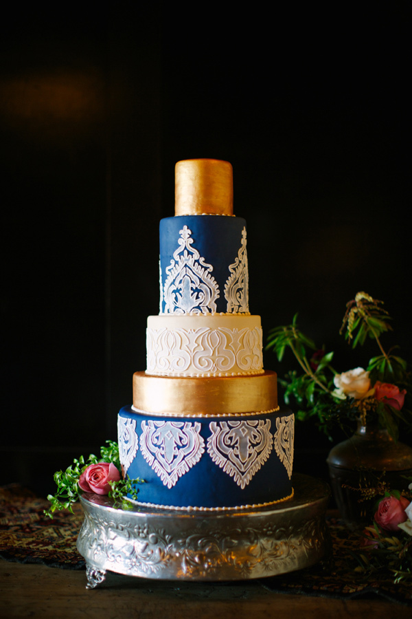 gold blue and white wedding cake by edible art charlotte