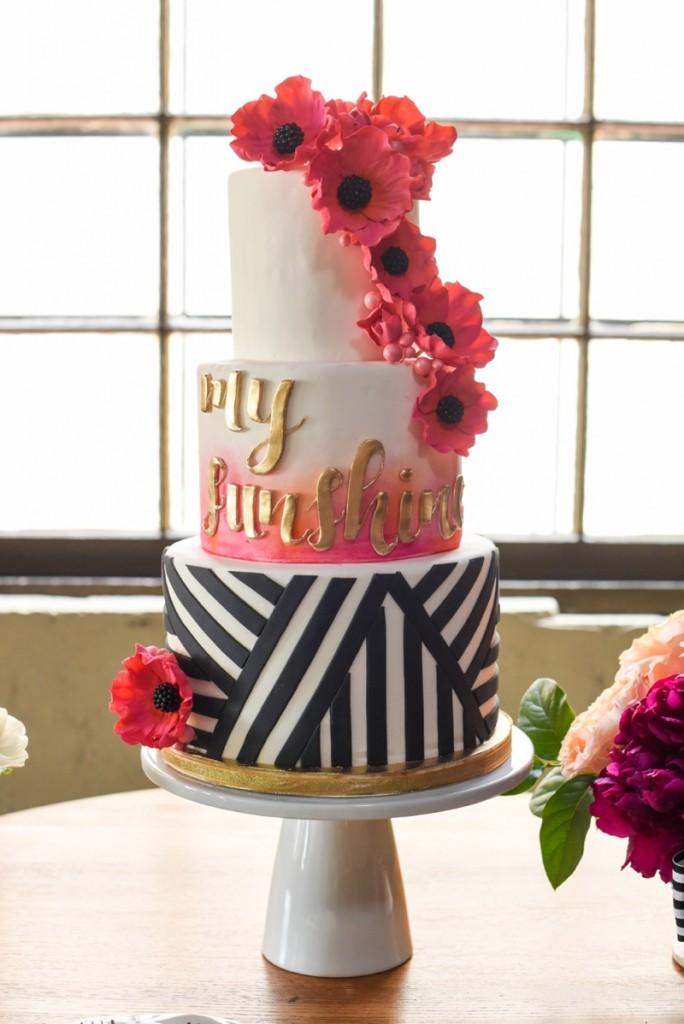 pink orange and white wedding cake