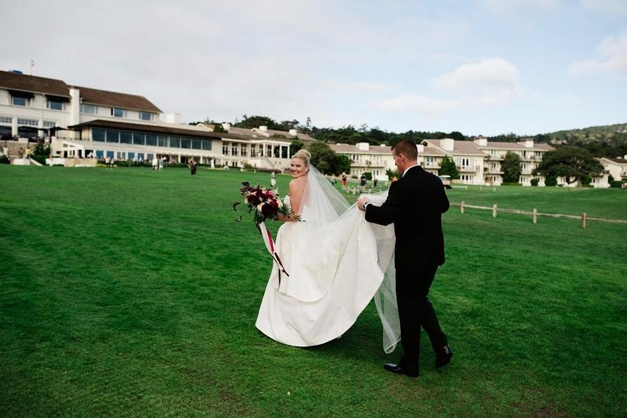 outdoor wedding with oxblood bouquet Sarah Maren Photography