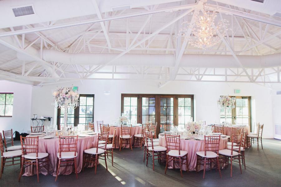indoor wedding reception- blush and gold Romantic Wedding in Arizona 1