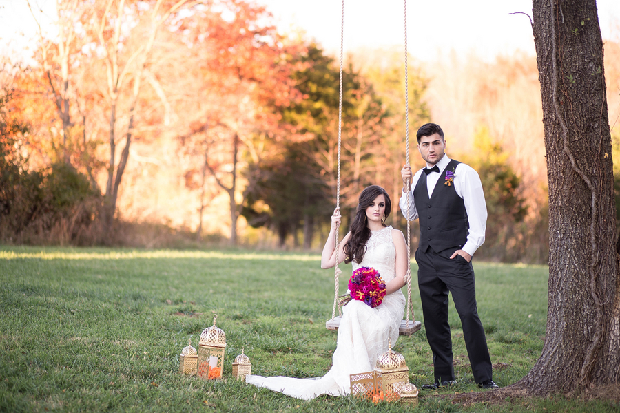 Vibrant Purple and Gold Styled Shoot 3