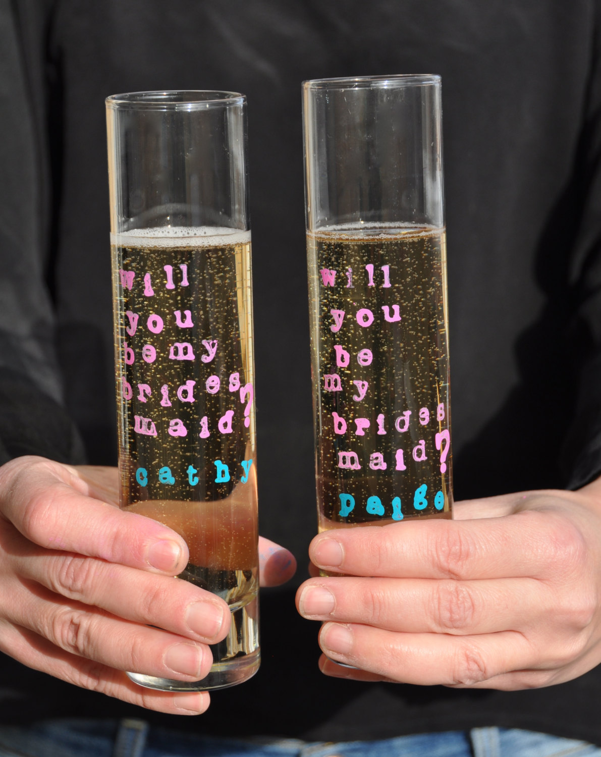 will you be my bridesmaid champagne flutes
