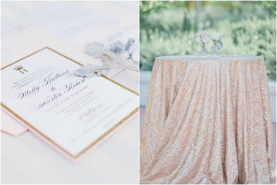 blush and gold invite