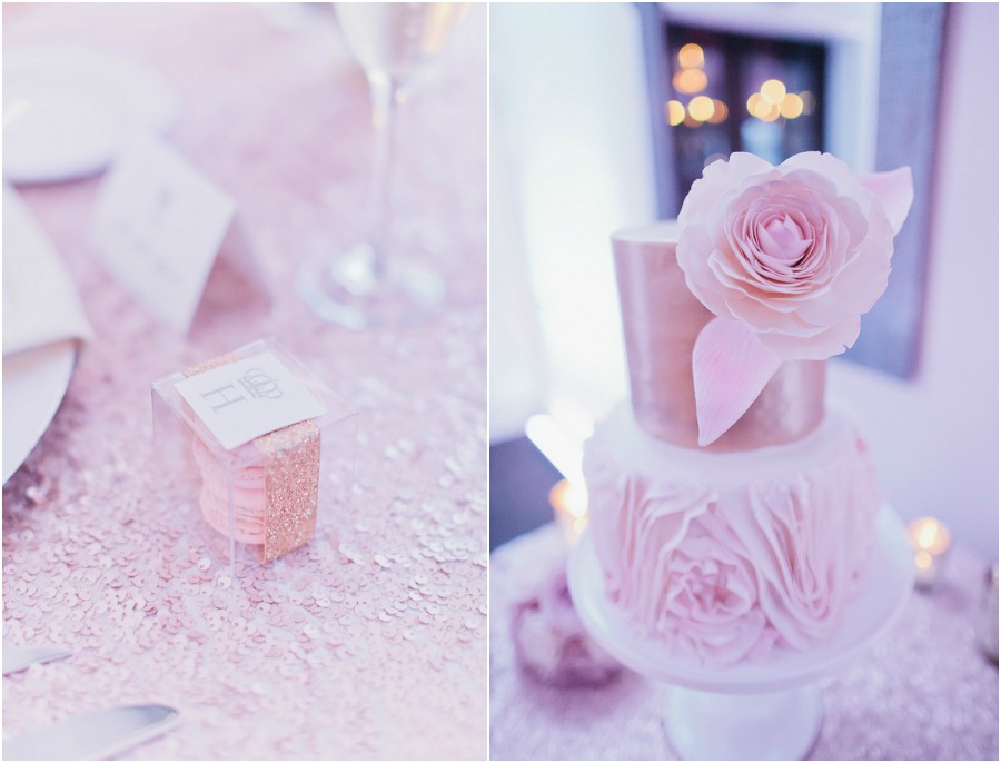 blush and sparkle wedding reception