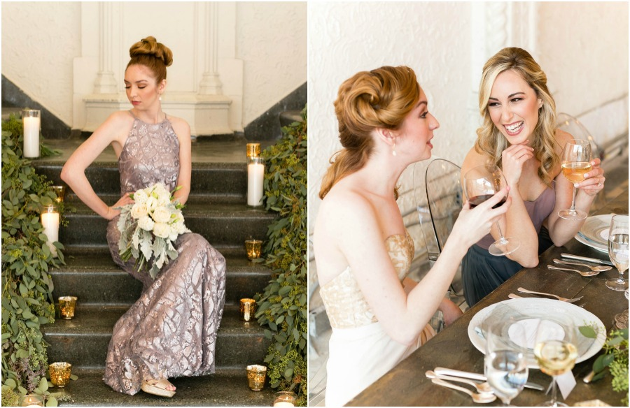 metallic bridesmaids dresses by bridesmaids