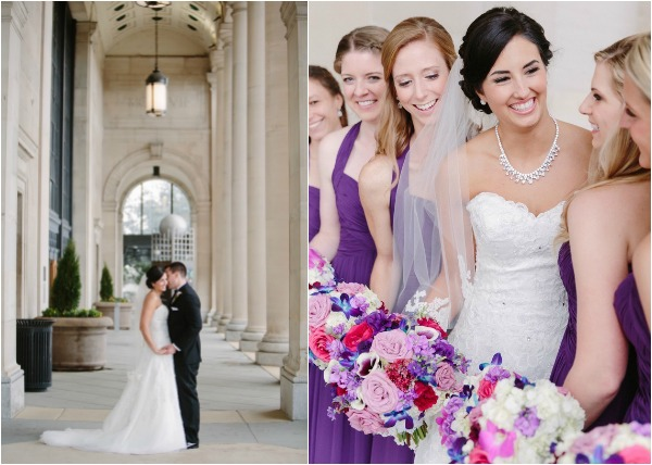 pink and purple black tie wedding
