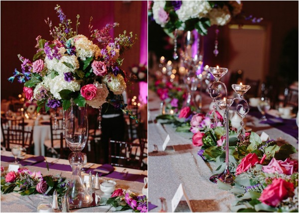 purple pink and white reception