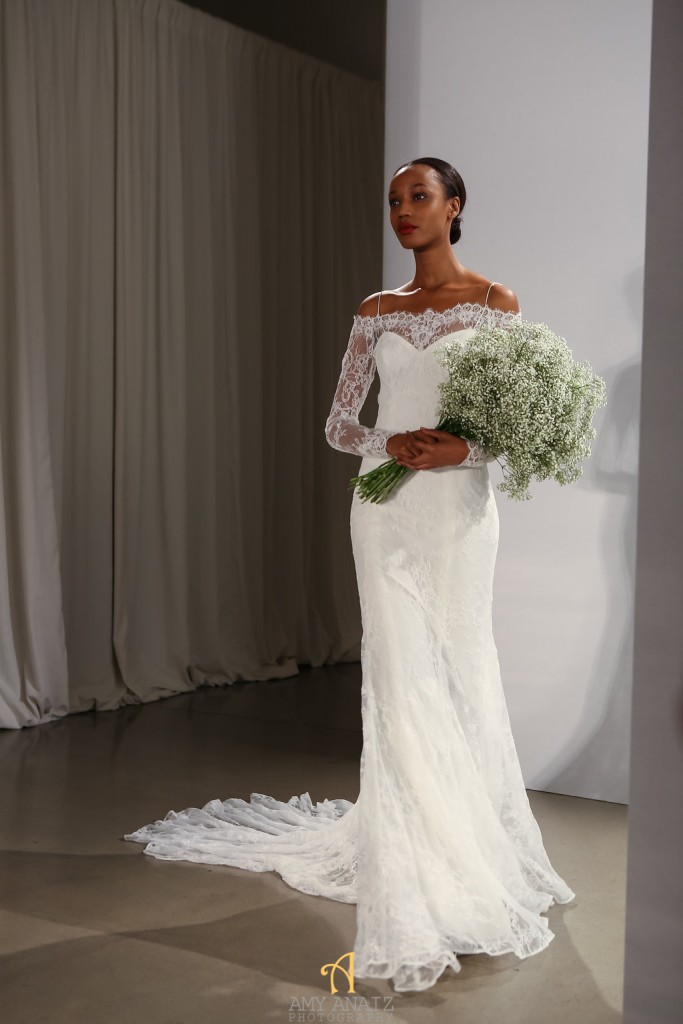Amsale_long sleeved lace wedding gown